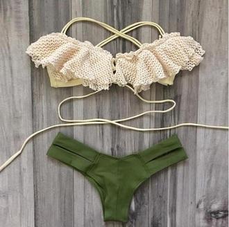 swimwear summer sexy 2016 2017 push up bikini brazilian bikini brazilian bikini bottom frilly ruffle dark green khaki lace