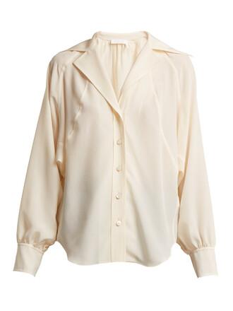 shirt open silk cream top