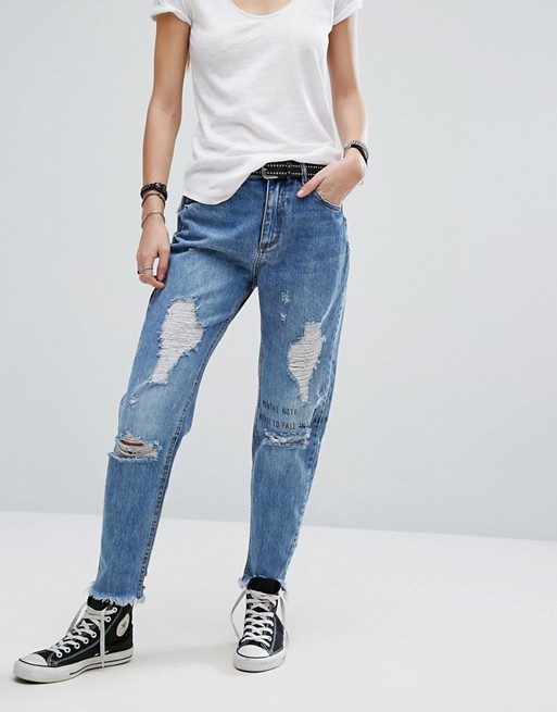 Pull&Bear Mom Jean With Extreme Destressing at asos.com