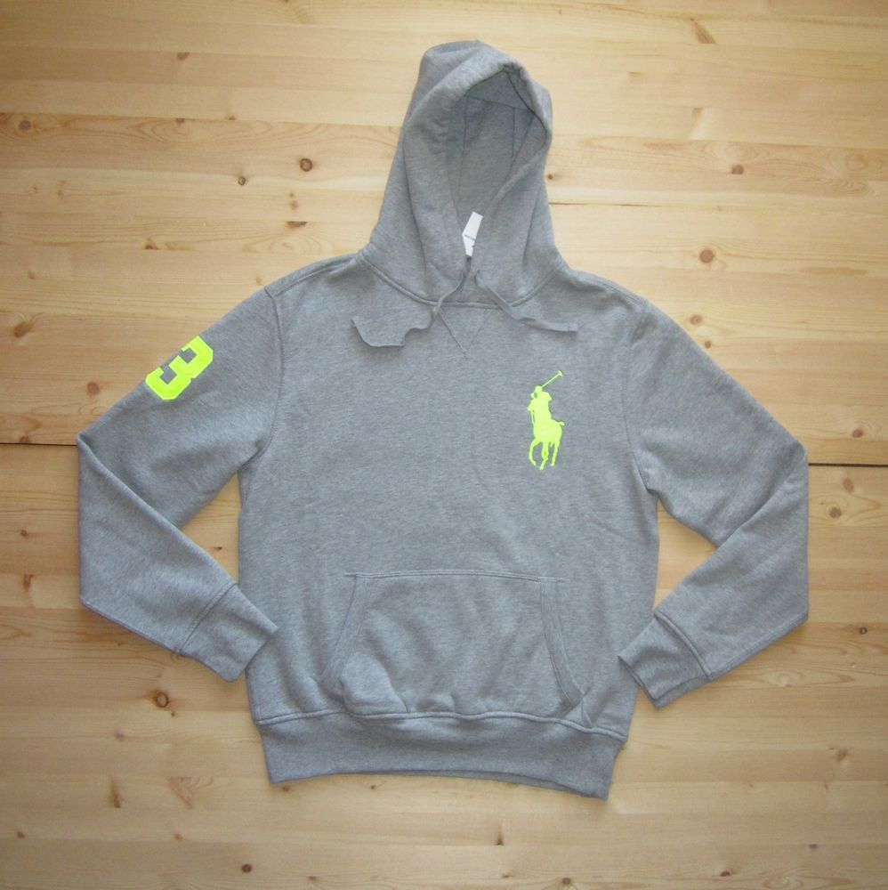 Polo Ralph Lauren Big Pony Beach Fleece Pullover Hoodie in Size Medium in Grey