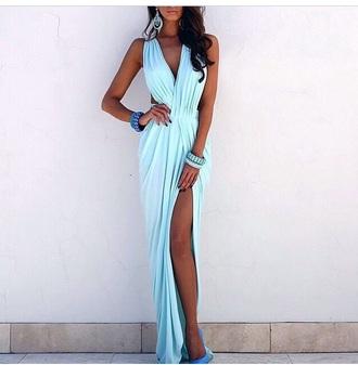 dress style sky blue slit dress long dress gowns gown