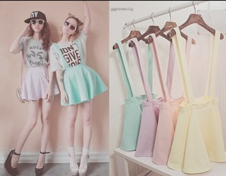 shirt pastel pastel green pastel blue skirt pastel skirt pastel pink skirt tumblr girly kawaii skirt pastel pink tumblr girl girly skirt