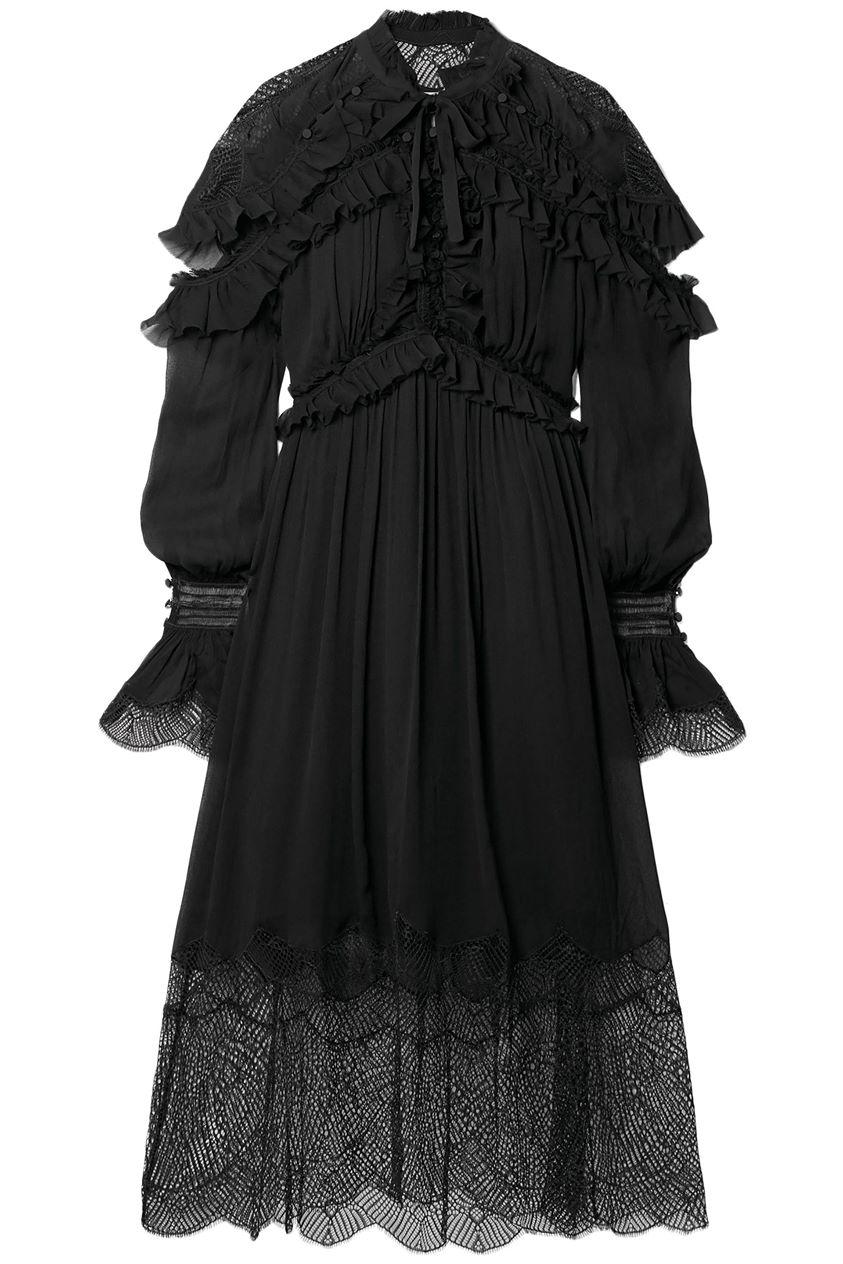 Jonathan Simkhai Woman Ruffled Lace-paneled Silk-georgette Midi Dress Black Size 6