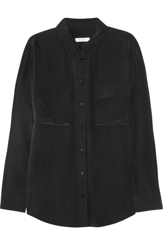 shirt silk black top