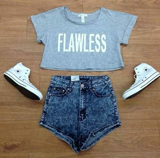 top shoes converse high waisted shorts t-shirt shorts jeans flawless grey badass sweet girly nice blue shirt crop tops light blue tumblr love ariana grande tumblr outfit ariana grande dress