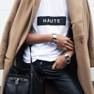 t-shirt haute tee white black amazing coat tees white tee black square quote on it haute couture
