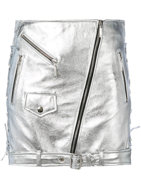 Manokhi skirt mini women leather grey