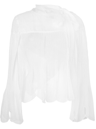 blouse sheer blouse sheer scalloped white top