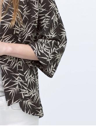 jacket kimono black top black sweater white top weed leaves fashion cool