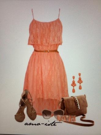dress lace orange beige