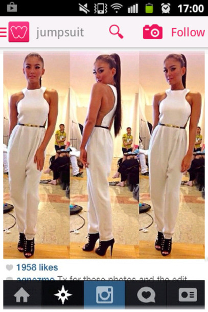 pants white jumpsuit elegant