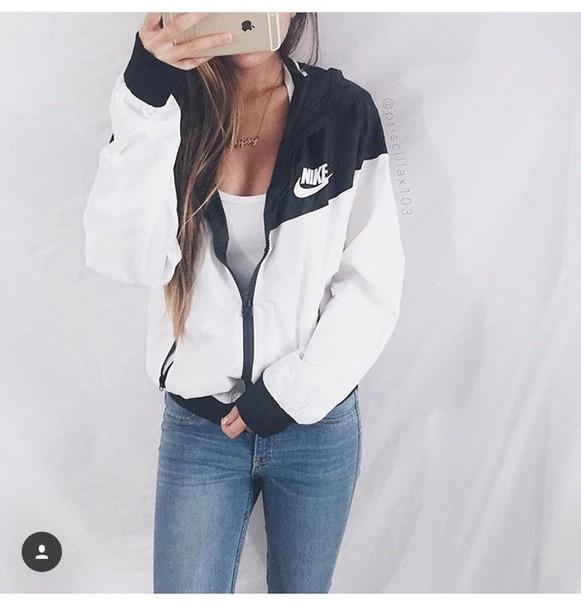 Jacket: nike jacket, nike, windbreaker, black, white ...