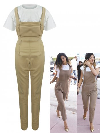 Kylie jenner dungaree jumpsuit with crop top