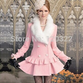 coat pink ruffle hem white fur buttons double breasted