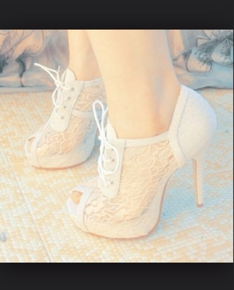 shoes lace cute high heels booties white formal