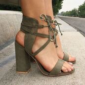 shoes,heels,army green,tie,high heel sandals,green shoes,strappy heels