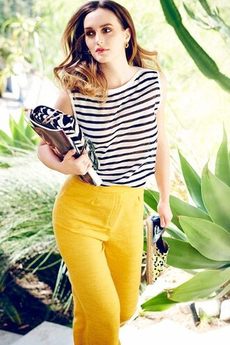 shoes flats leighton meester pants spring outfits striped top top purse editorial bag blouse