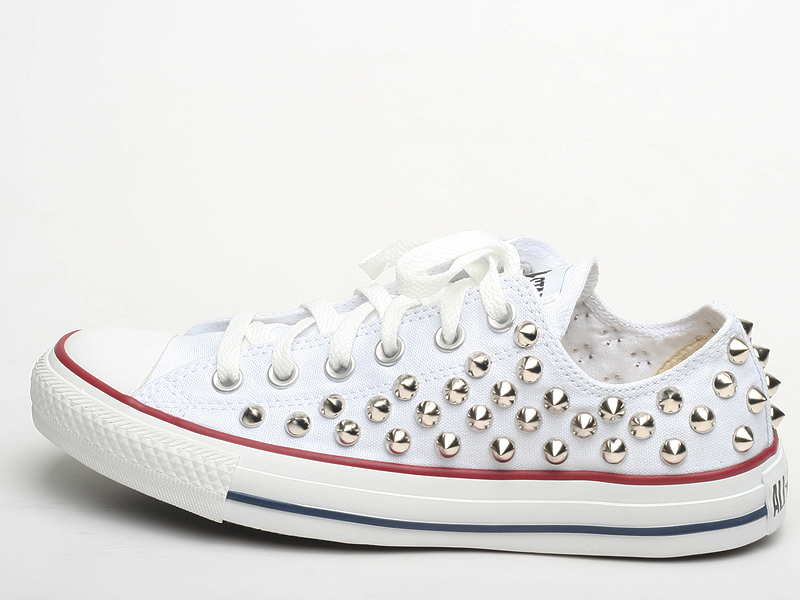 23f1b7b0c22 Genuine Converse All Star Shoes Low White Spike Stud Color Silver | eBay