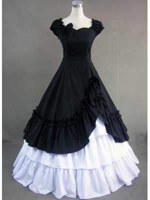 Buy Short Sleeve Cotton Gothic Lolita Dress with Bowknot under 200-SinoAnt.com
