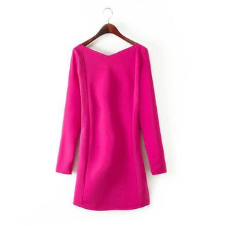 sexy dress party dress cut-out dress deep v neck dress pink
