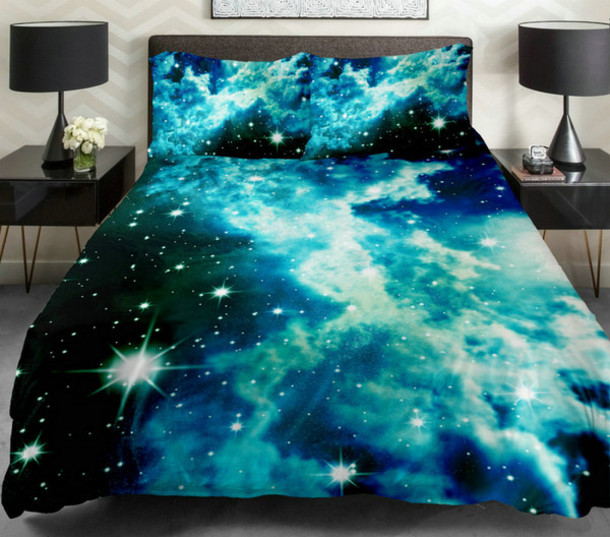 home accessory bedding galaxy print blue blue bed bed set comforter sheets blanket pillows fun style space stars
