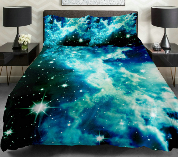 home accessory bedding galaxy print blue blue bed bed set comforter sheets blanket pillows fun style space stars galaxy print bedroom tumblr bedroom teen bedrooms galaxy dress duvet galaxy duvet cover home decor