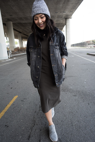 the fancy pants report blogger dress jacket shoes hat beanie denim jacket sneakers casual asos streetstyle