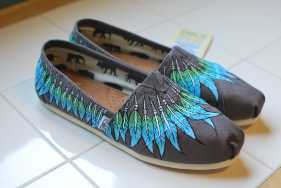 Custom Hand Painted TOMS  Feather Moccasin on Ash by BStreetShoes