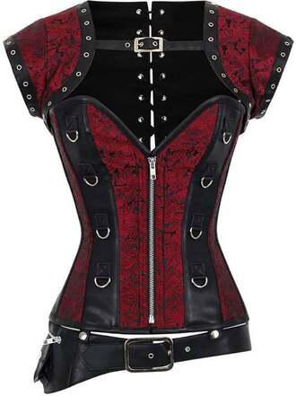 top black red black and red corset top corset
