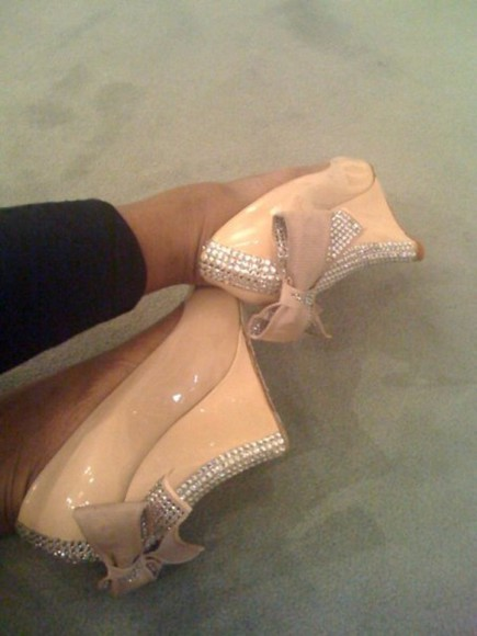 shoes nude shoes wedges bow rhinestone heels