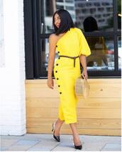dress,button up,midi dress,one shoulder,belt,pumps,slingbacks,handbag