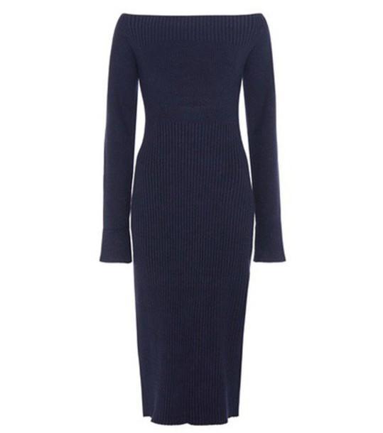 Jason Wu Zen Wool And Silk-blend Off-shoulder Dress in blue