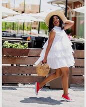 dress,hat,tumblr,mini dress,white dress,ruffle,ruffle dress,sleeveless,sleeveless dress,sneakers,red sneakers,red converse,converse,bag,basket bag,sun hat,shoes
