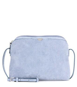 bag shoulder bag suede blue