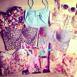 tank top floral bustier crop top floral bustier floral bustier leopard print leopard bustier summer top summer outfits sunglasses