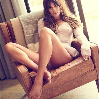 top celebrity lea michele nude dress dress bodysuit long sleeves