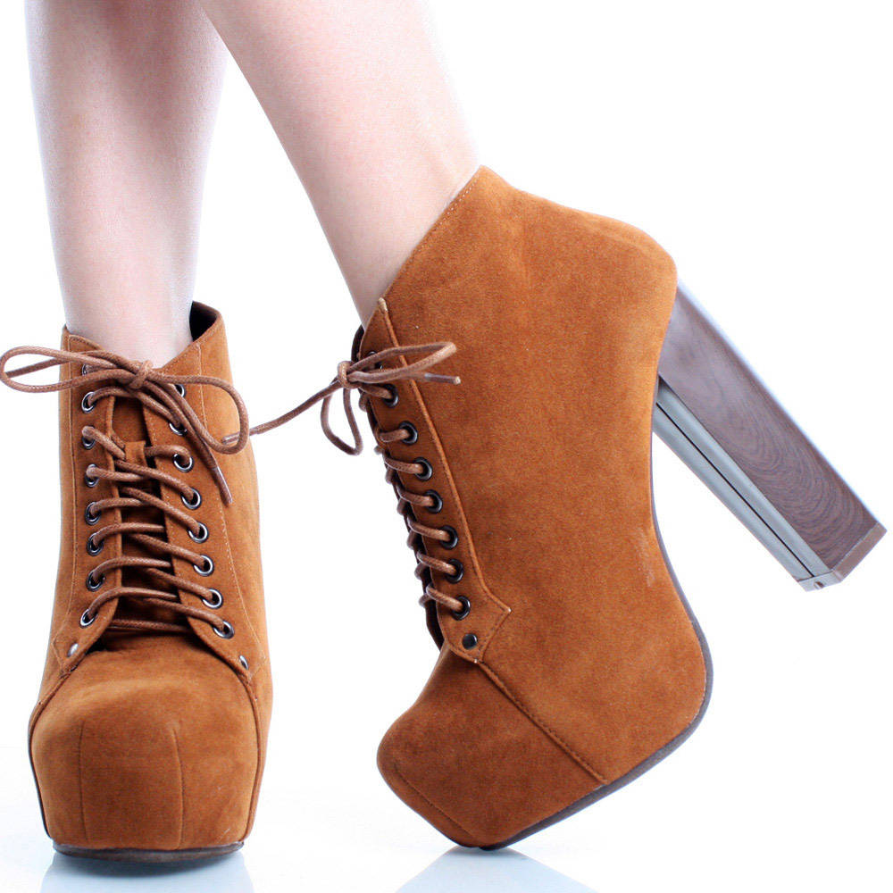 Brown Suede Lace Up Women Square Toe Chunky Heel Platform