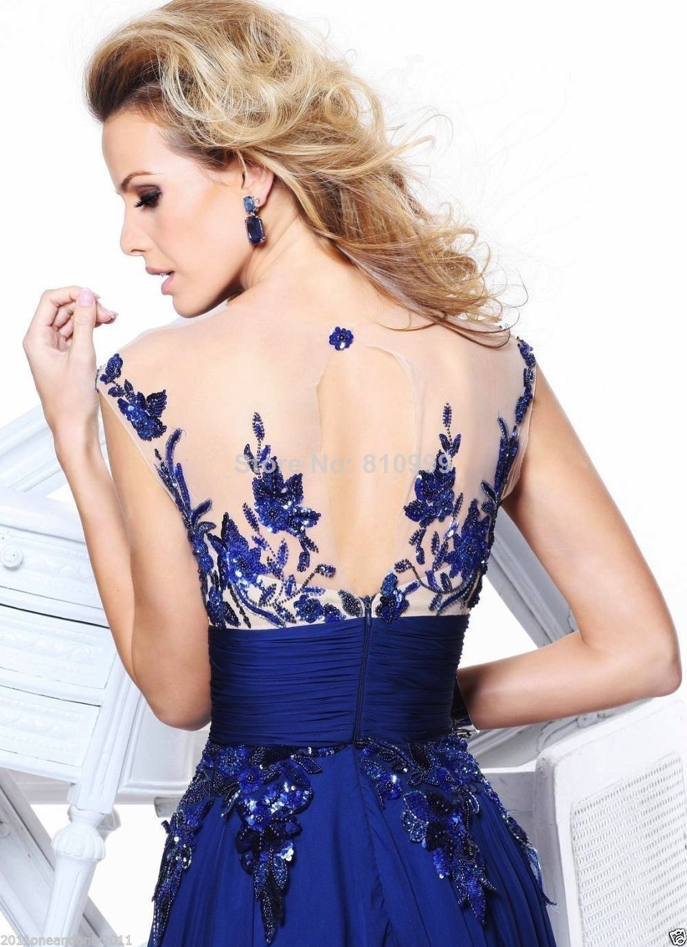 Aliexpress.com : Buy free shipping royal blue spaghetti strap beading side slit chiffon sexy prom gowns long evening dress new fashion 2014 from Reliable gown backless suppliers on Suzhou Jaeden Garment Co., Ltd.