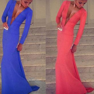 dress blue prom sexy low cut fashion coral trendy elegant vanessawu