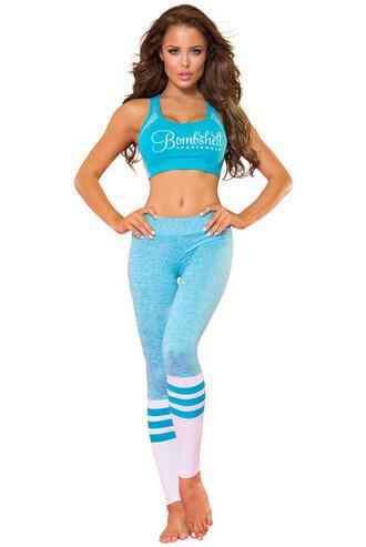 top comfy medium coverage bombshell turquoise sports bra sportswear