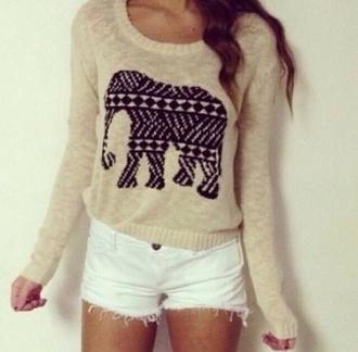 sweater shorts shirt elephant sweater blouse elephant pullover