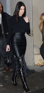 skirt,fringes,kendall jenner,all black everything,knee high boots,shoes