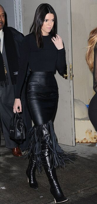 skirt fringes kendall jenner all black everything knee high boots shoes