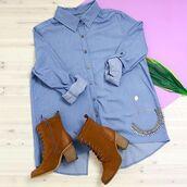 top,blue button up,button up shirt,business shirt,back slit,back slit shirt,tomboy,light blue denim,light blue shirt,peppermayo