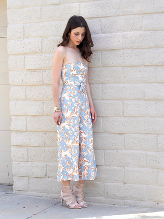 cost with me blogger jumpsuit shoes floral strapless jumper summer outfits