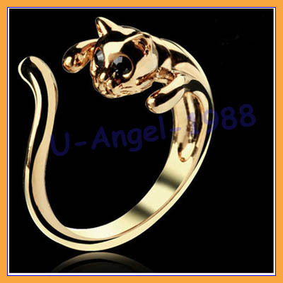 10pcs/lot fashion cute kitten cat adjustable crystal alloy finger ring gold/sliver/black free shipping