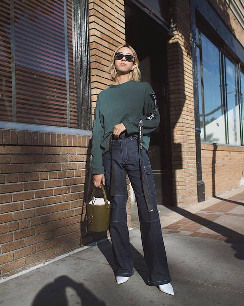 jeans tumblr blue jeans wide-leg pants top sweatshirt green top bag handbag sunglasses