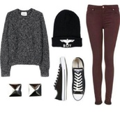 sweater,hat,shirt,tumblr,jumper,boy london,black and white,studs,converse,burgundy,jeans,winter outfits,fall sweater,cardigan,romper,blouse,shoes,sweatshirt,grey,oversized sweater,beanie