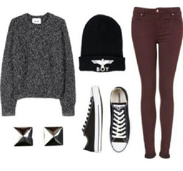 sweater hat shirt tumblr jumper boy london black and white studs converse burgundy jeans winter outfits fall sweater cardigan romper blouse shoes sweatshirt grey oversized sweater beanie