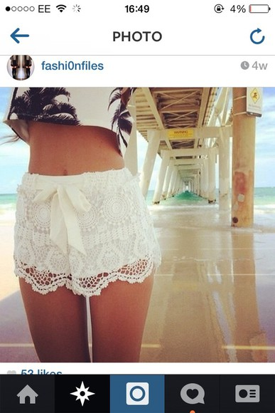 shorts lace white ribbon bow